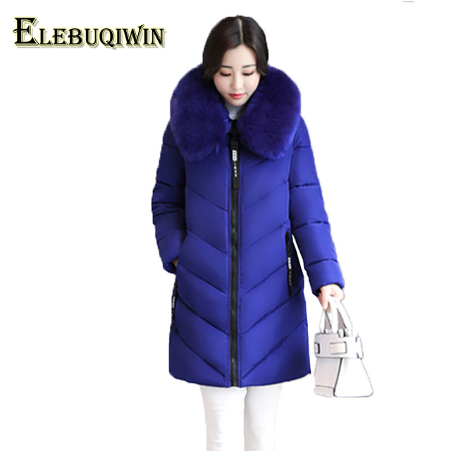 3d2990309b1fb 6XL Plus size Womens Down Cotton Jackets 2017 New Big Fur collar Winter  Hooded Thick Warm Overcoat Female Long Coats Parkas L129