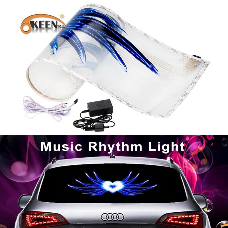 90*25 cm Car styling autoadesivo musica musica equalizzatore EL sheet Luce della lampada Equalizer per finestra Angolo Anima chario Led Decorazione