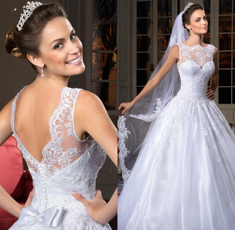 Bride Gowns 2015: 2015 Sweetheart A Line Organza Lace Wedding Dresses Church