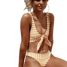 Sexy Bow Knot Striped Bikini 2019 Swimsuit Women Bandeau Swimwear Female Brazilian Bathing Suit Push Up Bikini set Beach Wear tie knot bandeau beach romper