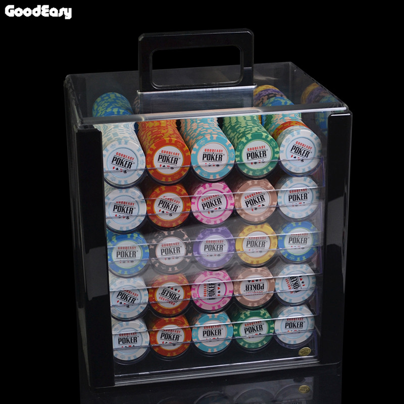 100 200pcs set casino clay wheat poker chip set high qulaity cheap pokerstar set with acrylic tray 600/1000PCS/Box 14g Clay Chips Sets With Acrylic Box Casino Crown POKER 14 Colors Texas Hold'em Poker Chips Cheap Factory Price