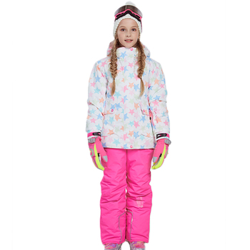 Children Clothing Set Girl Ski Suits Jacket and Pant Winter Warm Kids Snow Skiing Suit Windproof Removable Hood Outdoor