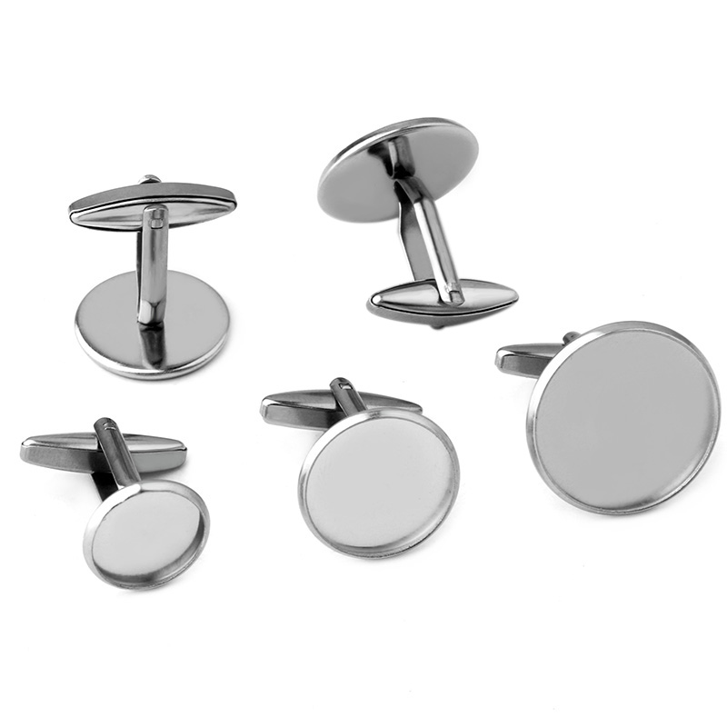 6pcs (No Fading) Stainless Steel Cufflinks Cabochon Blank Base Fit 12/14/16/18/20mm Jewelry Making  Accessories Wholesale