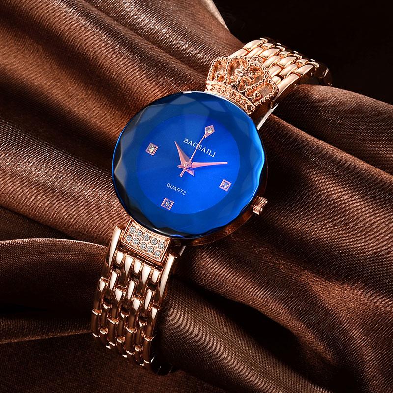 BSL958 BAOSAILI Shining Rhinestones Luxury Ladies Watches Japan Movement Stainless Steel Watch For Women Wrist Watch relogio