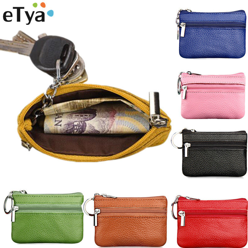 ETya Women Men Key Holder Wallet Fashion Leather Key Keychain Bag Card Purse Wallet  Holder Zipper Pouch Case