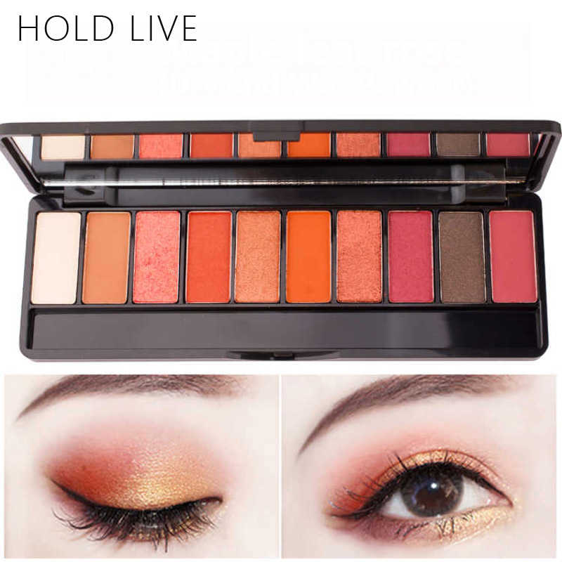 HOLD LIVE 10 Colors Red Eye Shadow Palette Peach Nude Shade For Eyes Makeup Set Matte