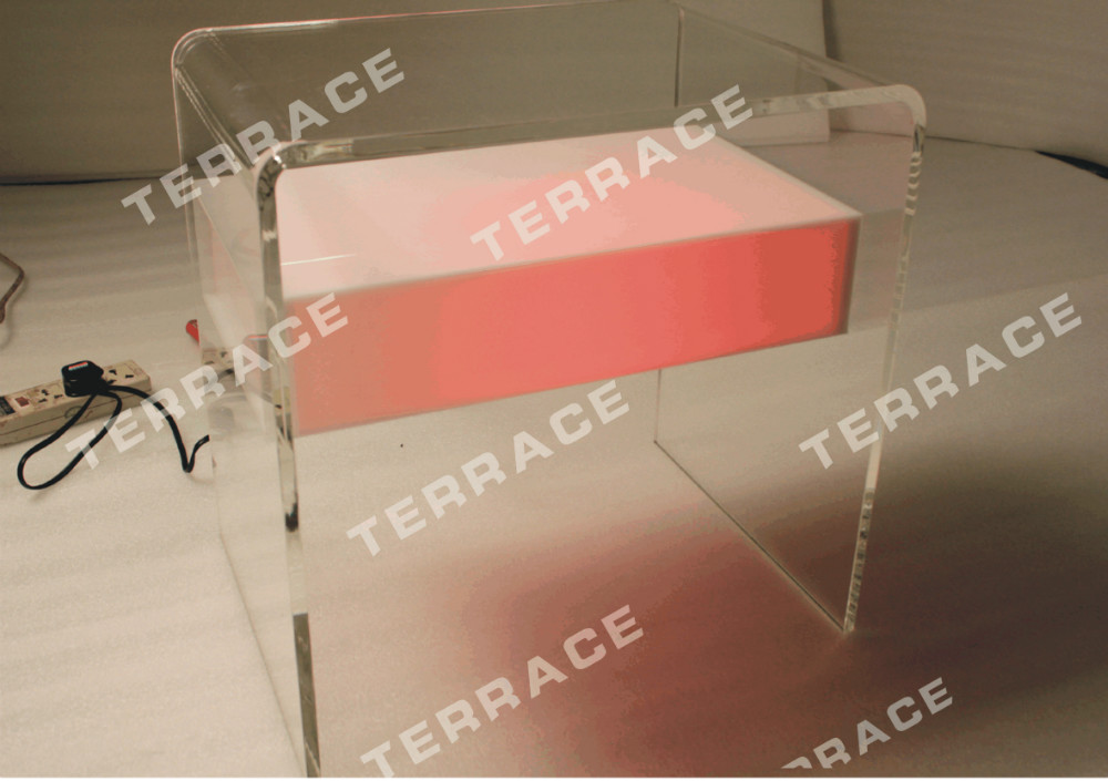 Waterfall Acrylic Lighting nightstand,Lucite LED Bedside tables multi color acrylic nightstand with magazine rack lucite bedside cabinet table plexiglass sofa tables