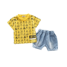 Summer 2019 new cartoon childrens short sleeve suit children boys shorts summer baby girls clothes