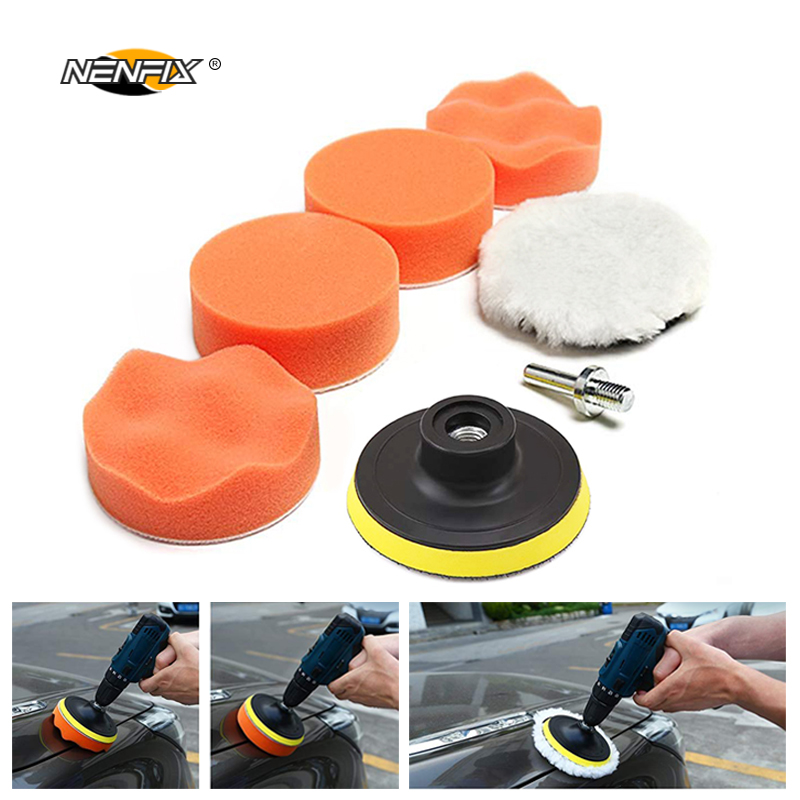 7pcs 3 Car Sponge Polishing Pad Set Polishing Buffer Waxing Adapter Drill Kit for Auto Body Care Headlight Assembly Repair