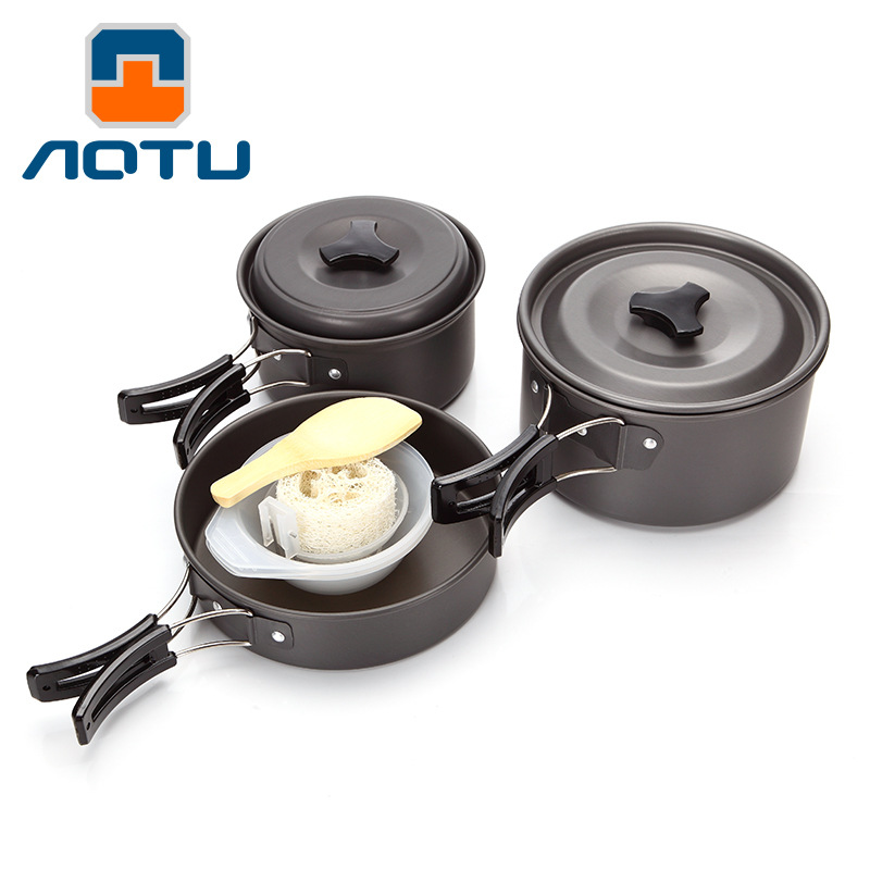 2-3 Persons Camping Tableware Outdoor Cooking Set Cookware Travel Pots Pan and Pans  A
