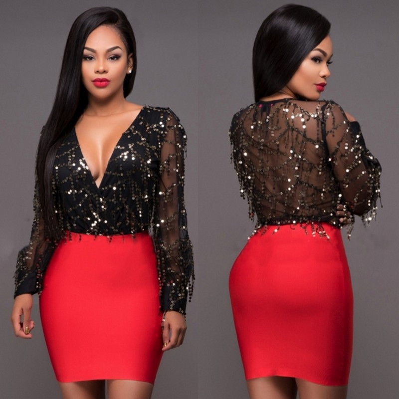 Buy Cheap 2017 new style Net yarn nail bead piece sequins cultivate one's morality long-sleeved sexy night club Package buttocks dress