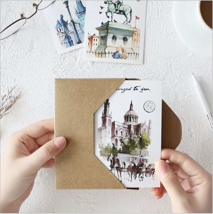 30Pcs/pack Travelling the World City Landmark Buildings Scenic spots Postcard Envelope Gift Birthday Card Message Card Bookmark