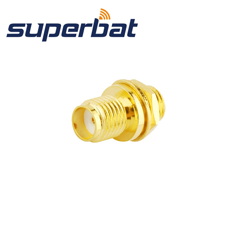 Superbat SMA Panel Mount Female Jack Connector Bulkhead With Solder Cup Straight RF Coaxial Connector