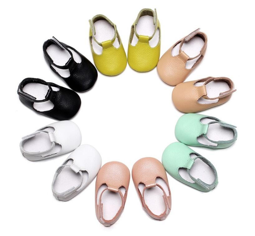 2018 Handmade Genuine Leather Baby Moccasins infant Mary jane soft sole Baby girls Shoes Newborn first