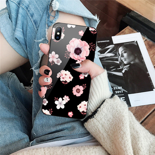 Luxury Tempered Glass Case For iPhone Rose Cherry Flower Protective Back Cover 1