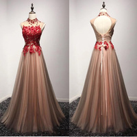 Red Appliques Long Tulle Dress High Neck Backless Evening Gowns Floor Length Fluffy Formal Party Womens Dresses Custom Made