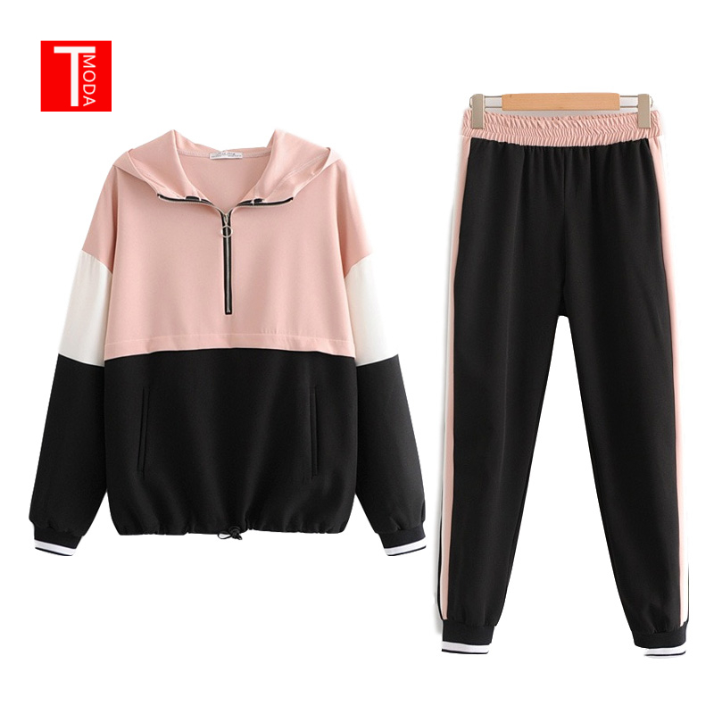 2019 Tracksuit Women Two Piece Set Outfits For Women Slim Pink Black Stitching Jacket Casual Jacket Casual Jogging Pants Suit