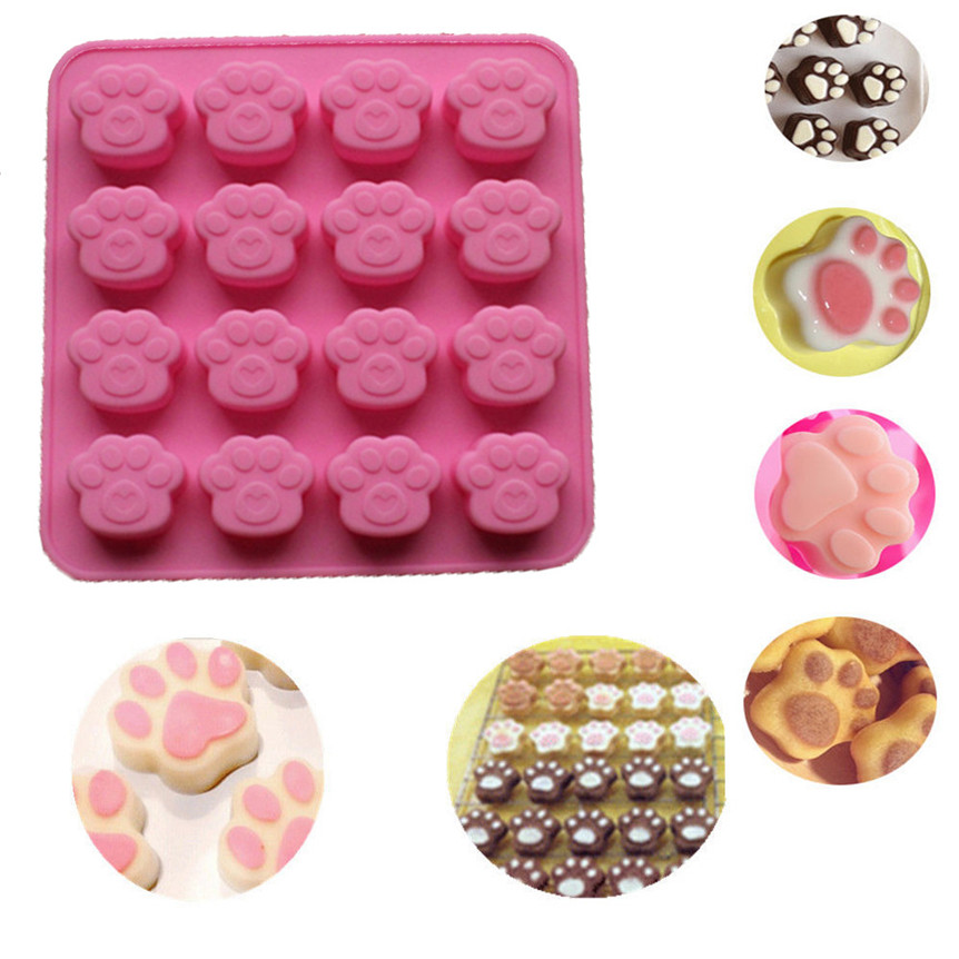 Lovely Pets 16 Grid Cat Paw Print Silicone Cookie Cake Candy Chocolate Mold Soap Ice Cube Mold Drop Shipping 0602