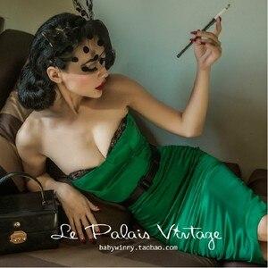 Женское винтажное платье-бюстье, винтажное платье-Топик с изумрудом из сатина в стиле ретро