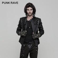 цена на PUNK RAVE Punk Rock Stand-up Collar Men Short Zipper Jacket PU Leather Inelastic Woven D Buckle Metal Zipper Coats Moto Biker