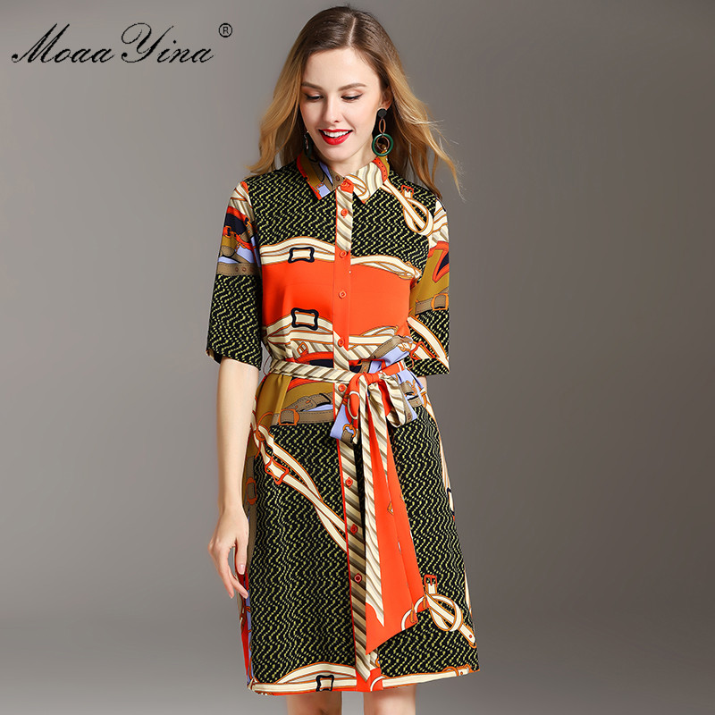 MoaaYina Fashion Designer Runway Dress Summer Women Dress Half sleeve indie folk Print Lace up Dresses
