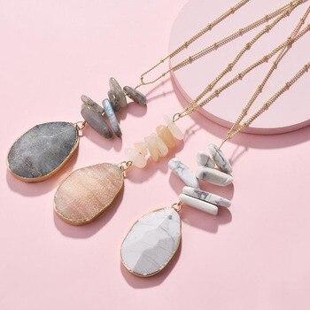 HUIDANG colliers pour femmes longue cha ne de boule en plaqu or avec pendentif en pierre