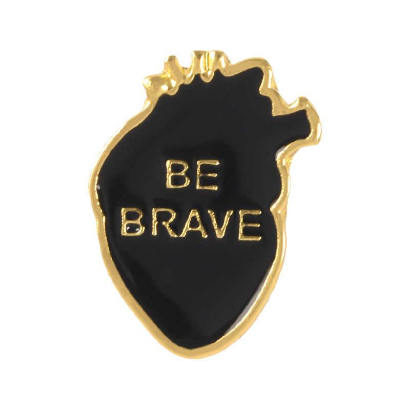 4 Pin Kartun Lencana Huruf Berani Bros untuk Wanita Jantung Berani Pin Perhiasan untuk Warrior Enamel Pin Tas Ransel aksesoris