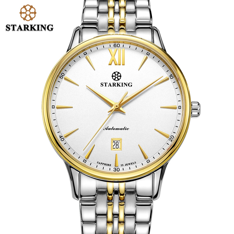 <font><b>STARKING</b></font> Men Luxury <font><b>Watch</b></font> Automatic 28800 Beats Movement Sapphire Glass Stainless Steel Gold Wristwatches 5ATM Relogio AM0239 image