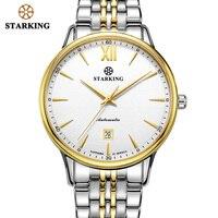 Starking men relógio de luxo automático 28800 batidas movimento safira vidro aço inoxidável ouro relógios pulso 5atm relogio am0239