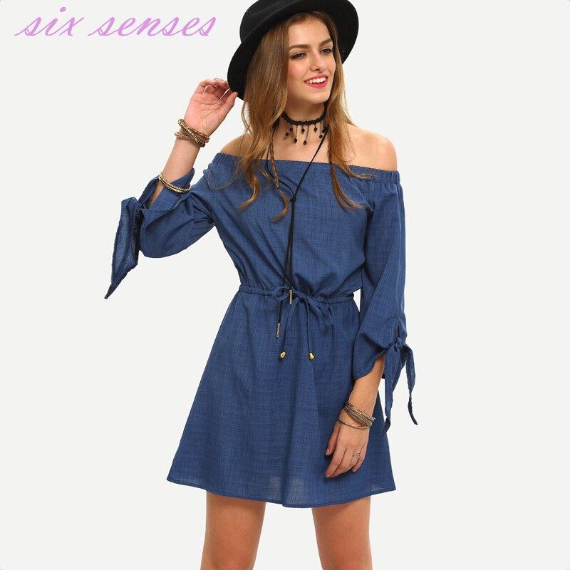 Nouvelle mode femmes robe d'été décontracté solide robes slash cou trois quarts irrégulière poignets flare manches a ligne vestidos, HH0159