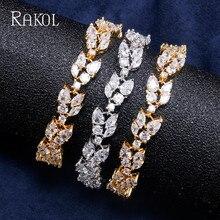RAKOL Luxury Bracelets Charm Paved Cubic Zircon Rose Gold Color Bridal Wedding Bracelet For Women Cut Crystal Brand Jewelry