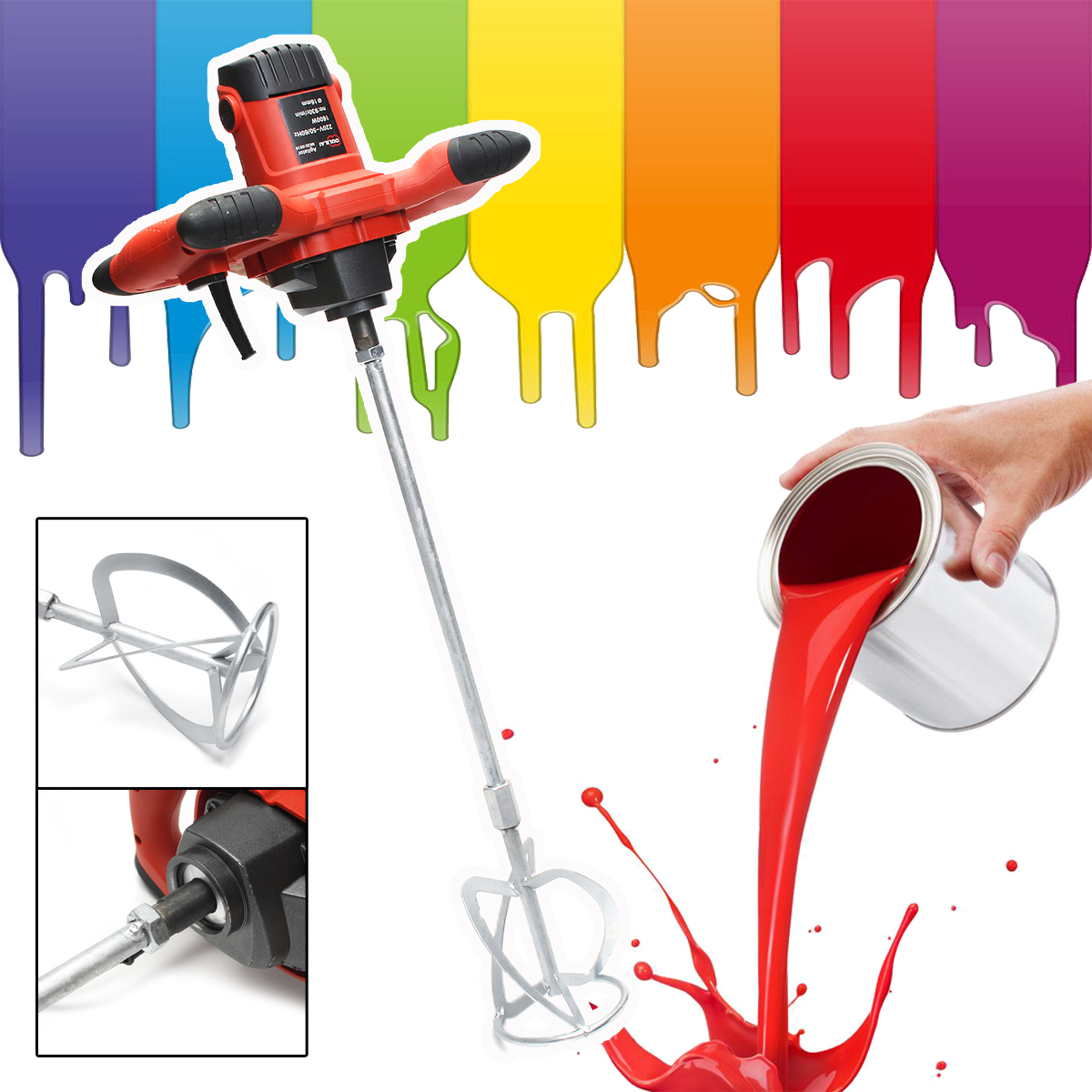 1600W Handheld 6 speed Electric Mixer for Stirring Mortar Paint Cement Grout for Mixing Feed Food Paint Cement Power Tool