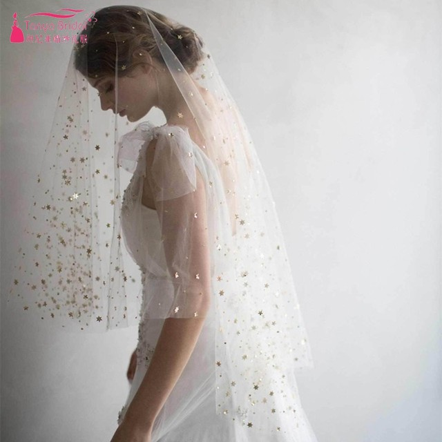 Real photos Wedding Bridal Veils White Tulle With Sliver /Gold Moon stars Bride Veil Fast Shipping In STock Veil DQG447
