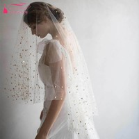 Real photos Wedding Bridal Veils White Tulle With Gold Moon stars Bride Veil Fast Shipping In STock Veil DQG447