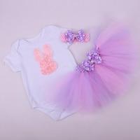3 шт. комплект для маленьких девочек розовый Кружево с рисунком кролика комплект с юбкой-пачкой; комбинезон; одежда для маленьких детей фиол...