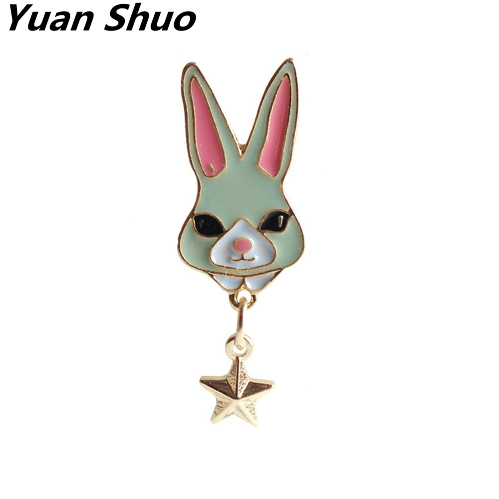 Japanese style playful lovely drops glaze rabbit brooch female sex stars Corsage 2017 clothing accessories pin wholesale ...