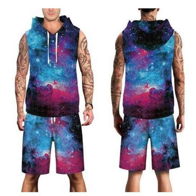3D galaxy forest Digital printed Beachwear spring summer hoody Men Vest short Sleeveless Suit Clothing Set plus size