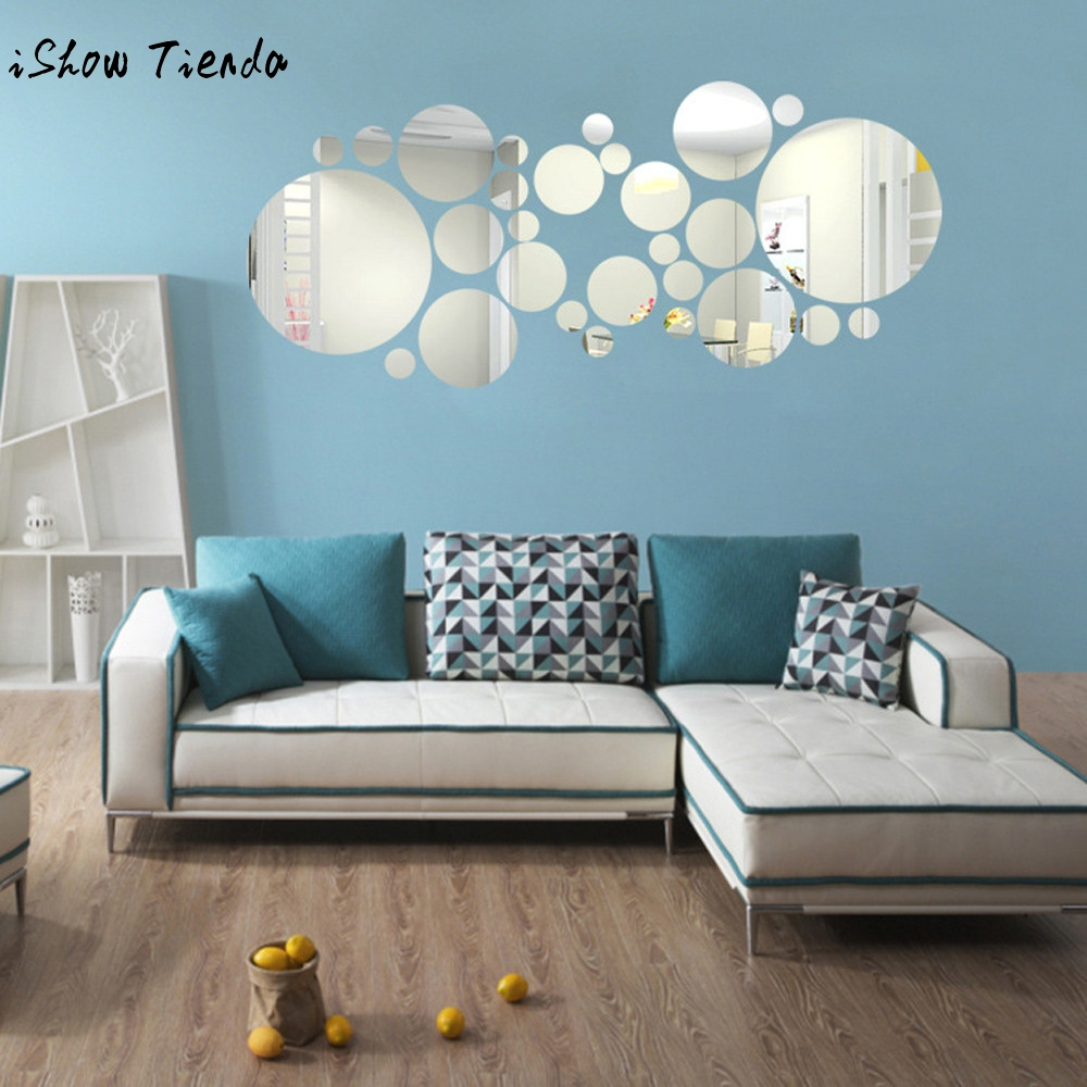 27pc diy 3d modern creative big small round acrylic mirror for Miroir dans une chambre