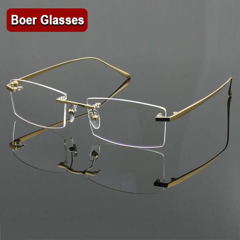 100% Ren Titan Mäns Glasögon Ram Glasögon RXable Rimless Glasses Light Vikt 4 Färger YASHILU 1179