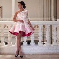 Элегантные, на одно плечо розовые платья 2019 короткое платье для выпускного вечера с рукавами мяч Выпускные платья Кружева полуофициальное