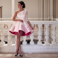Elegant One Shoulder Pink Homecoming Dresses 2019 Short Prom Dress With Sleeves Ball Gowns Graduation Lace Semi Formal Gown
