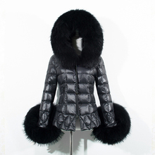 Плюс Размер 2016 Новая Мода женская Зимняя Куртка Утолщаются Женский С Длинным Рукавом Шелковой Ваты Пальто С Капюшоном Из Искусственного Меха Куртка пальто