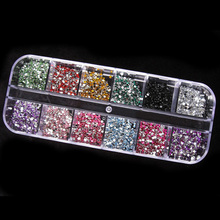 Hot 500pcs 12 Colors  2mm Round Rhinestones Hard Case Nail Art stickers Tips Decorations  Gemstones Acrylic UV Gel 67LR