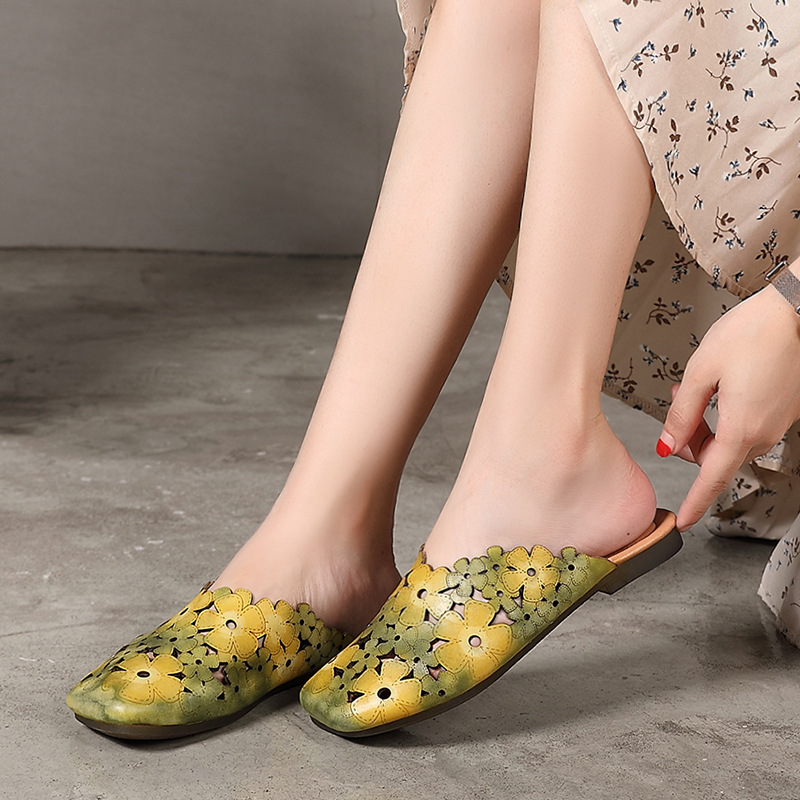 Johnature Genuine Leather Slides Floral Summer Outside Slippers Flat With Totem Simple Comfortable Hollow Women Shoes 2