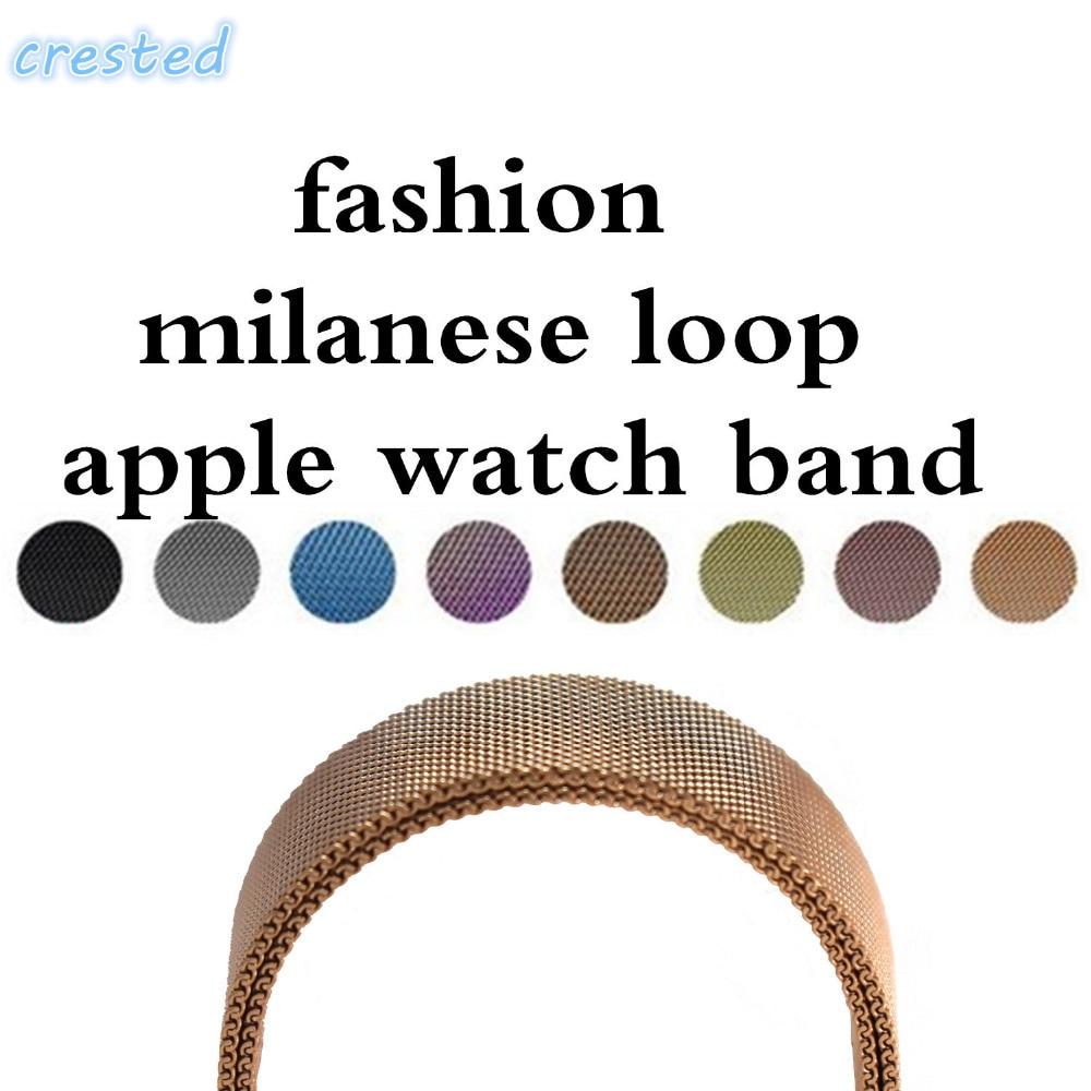 CRESTED Milanese Loop Strap Link Bracelet Stainless Steel band For font b Apple b font font