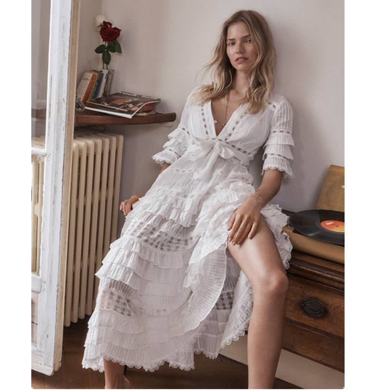 Top Quality Women Runway Boho Maxi Dress Deep V Butterfly Sleeve Embroidery Lace Dress Hollow Out Beach Long Vestidos hollow out embroidery panel dress