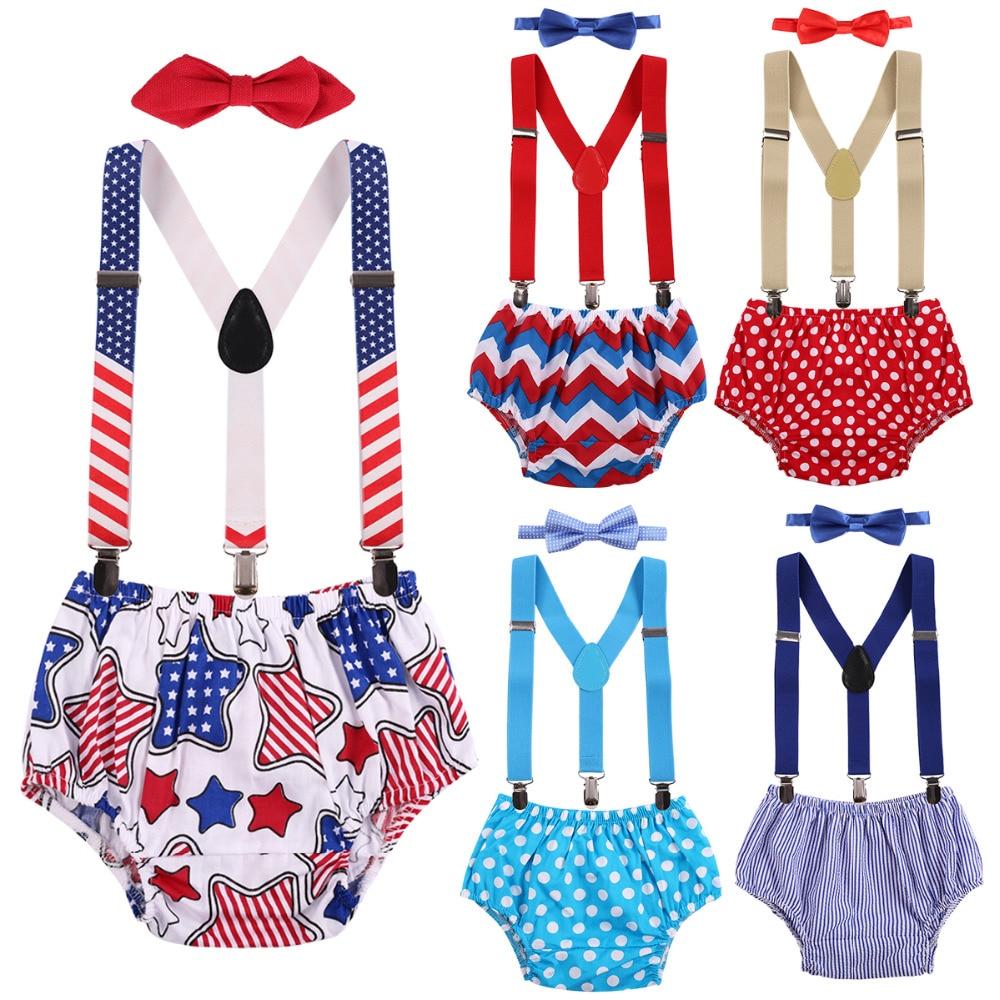 Комплекты одежды для маленьких мальчиков 3 шт. подгузник штаны + клип на Подтяжки Y назад подтяжки + галстук-бабочка фотографии реквизит 1st одежда для дня рождения