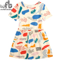 Retail 3-10 years dress cotton girls clothing fruit graffiti color printing kids children summer