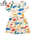 Varejo 3-10 anos vestido de algodão roupas meninas frutas cor grafite impressão de verão das crianças dos miúdos