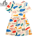 Vestido de algodón al por menor 3-10 años niñas ropa fruta color de graffiti impresión cabritos de los niños del verano